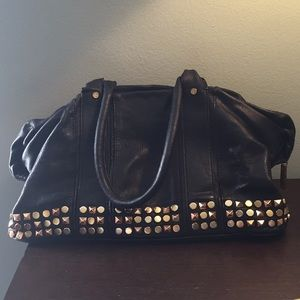 Tory Burch black leather gold studded purse